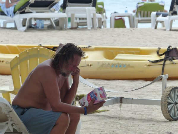 Life on the beach, whatever is written on that milk is very inte